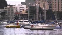 Static shot of moored boats at a marina in Rio de Janeiro, Brazil
