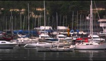 Boats moored along the coastline in Rio de Janeiro, Brazil