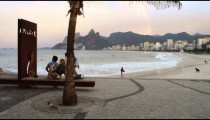 Tracking shot of a pebbled rest area at Ipanema Beach in Rio de Janeiro