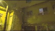 Panning lens flare shot of a house at a favela in Rio de Janeiro, Brazil