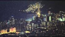 Panning night shot of the Rio de Janeiro skyline in Brazil
