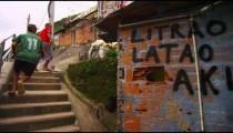 RIO DE JANEIRO, BRAZIL - JUNE 23: Slow motion, men going up stairs on June 23, 2013 in Rio, Brazil