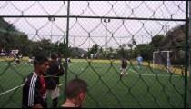 RIO DE JANEIRO, BRAZIL - JUNE 23: Slow pan of men's soccer game on June 23, 2013 in Rio, Brazil
