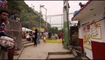 RIO DE JANEIRO, BRAZIL - JUNE 23: Slow dolly shot, favela occupants on June 23, 2013 in Rio, Brazil