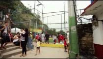 RIO DE JANEIRO, BRAZIL - JUNE 23: Slow dolly shot, people in favela on June 23, 2013 in Rio, Brazil