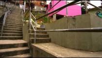 Slow pan of favela structures in Rio de Janeiro, Brazil