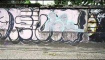 Slow motion tracking shot of various paintings on walls along a street in Rio de Janeiro, Brazil