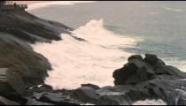 Slow pan of rocky coastline of Rio de Janeiro, Brazil