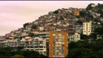 Long distance shot of houses in a favela in Rio de Janeiro, Brazil