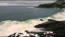 Slow motion shot of the horizon as seen from the Rio de Janeiro coastline in Brazil.