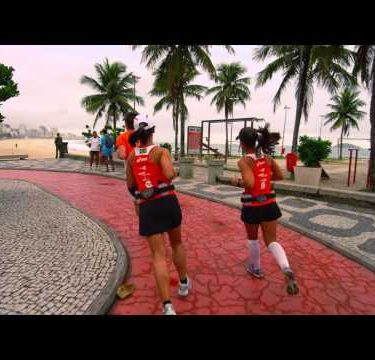 RIO DE JANEIRO, BRAZIL - JUNE 23: Slow dolly of runners on June 23, 2013 in Rio, Brazil