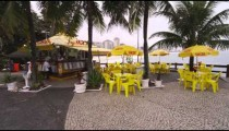 RIO DE JANEIRO, BRAZIL - JUNE 23: Slow dolly shot of outdoor restaurant on June 23, 2013 in Rio