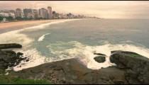 Time-lapse video of waves splashing on rocks along the coast in Rio de Janeiro, Brazil