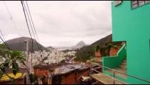 Dolly shot of houses in a favela in Rio de Janeiro, Brazil