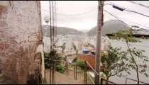 Slow dolly shot of view from a favela in Rio de Janeiro, Brazil