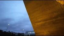 Slow close-up pan of concrete post of a building in Rio de Janeiro, Brazil