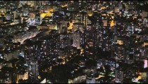 Time-lapse shot of downtown Rio De Janeiro at night from above, looking out at skyscrapers