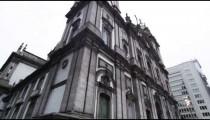 Tilting shot of an old, historical building in Rio de Janeiro, Brazil