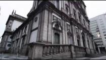 Tilt shot of an old, historical building in Rio d Janeiro, Brazil