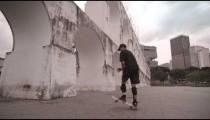 RIO DE JANEIRO, BRAZIL - JUNE 23: Man spinning on skateboard on Jun 23, 2013 in Rio