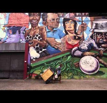 RIO DE JANEIRO, BRAZIL - JUNE 23: Static shot of a graffiti wall on June 23, 2013 in Rio, Brazil