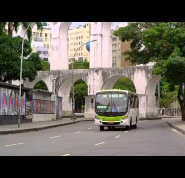 RIO DE JANEIRO - JUNE 23: Bus drives down street in Rio de Janeiro on June 23, 2013