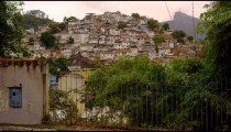 Slow tracking from right to left of favela in Brazil