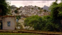 Slow tracking from left to right of favela in Rio de Janeiro