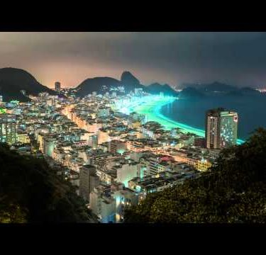 Time lapse shot of coast in Rio de Janeiro with Sugar Loaf in background