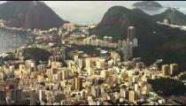 Pan aerial view of Rio de Janeiro and Sugarloaf Mountain.