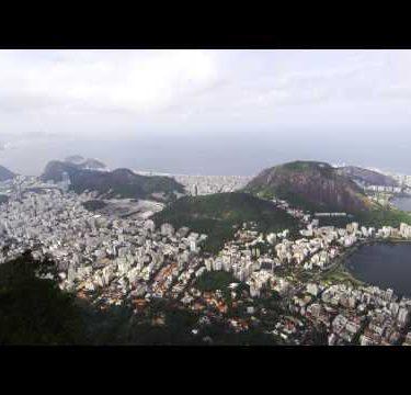 Pan of Rio de Janeiro taken from the top of Corcovado Mountain.