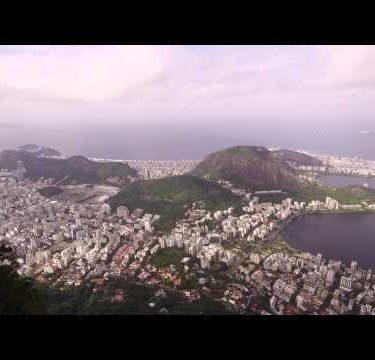 Pan of Rio de Janeiro shot above the city