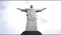Low-angle pan of Rio's Christ the Redeemer statue