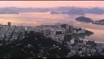 Morning pan over the Rio de Janeiro cityscape featuring the sea