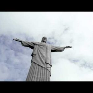 Low-angle static shot of Rio's Christ the Redeemer statue