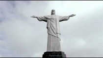 Low-angle still footage of Rio's Christ the Redeemer statue