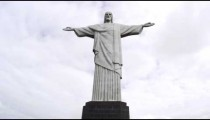 Low-angle still shot of Rio's Christ statue