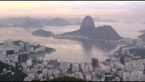 Still aerial shot of the cityscape and sea beyond Ipanema in Rio de Janeiro