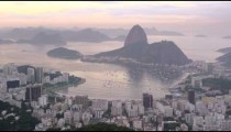 Slow pan of the cityscape and sea of Rio de Janeiro