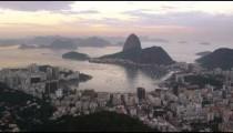 Still shot of pink sunset over Rio de Janeiro cityscape
