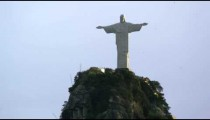Medium aerial shot of Christ the Redeemer statue in Rio de Janeiro