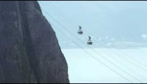 Static shot of cable cars going up Sugarloaf mountain in Rio De Janeiro