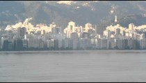 Slow pan of beachfront Rio