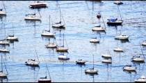 Moored boats bobbing in Guanabara Bay