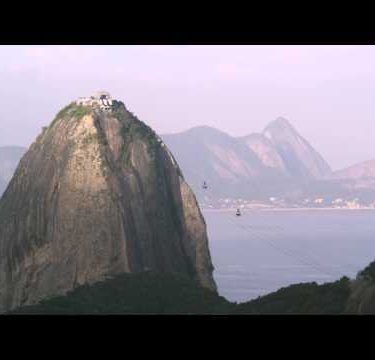 Static shot of cable cars traveling to Sugarloaf mountain in Rio De Janeiro