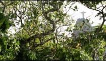 Christ statue atop Corcovado visible through tree foliage