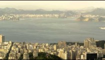Pan of Rio and Guanabara bay from lookout point