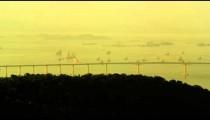 Long shot pan of Rio-Niteroi Bridge