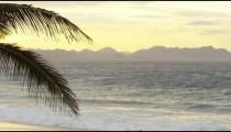 Pan of sunset over Ipanema beach