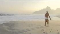 Man waits on Ipanema beach
